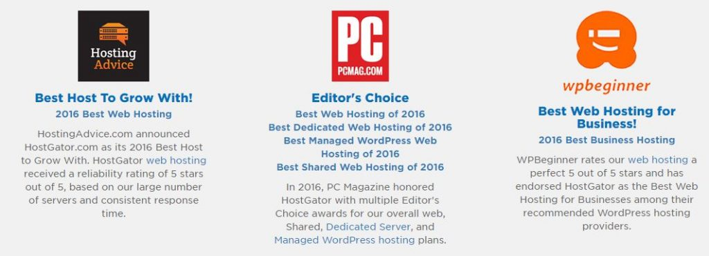 Hostgator awards and recognition