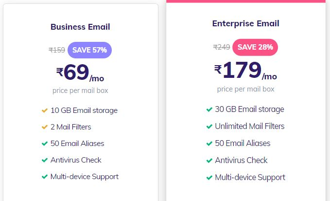 Hostinger email hosting plans