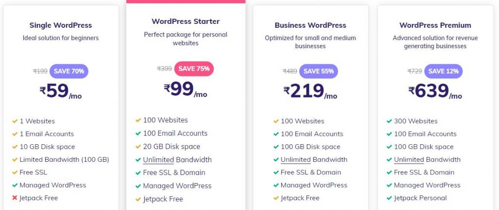 Hostinger wordpress Hosting plans